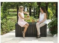 Keter Jumbo Patio Deck Storage Box Seat Bench Decorative 150 Gallon|no Sales Tax