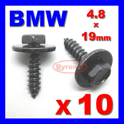 New 10 PCS Self Tapping Tapper Screw and Washer For BMW 4.8 x 19 mm Black 8mm