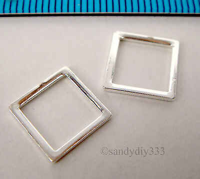 6x BRIGHT STERLING SILVER CLOSED SQUARE JUMP RING 10mm BEAD #741