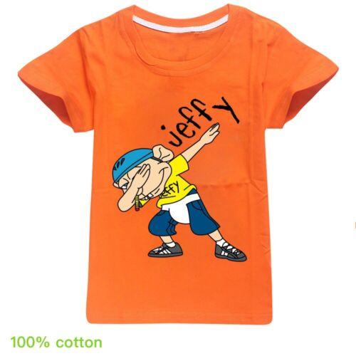 100/% Cotton Boys Girls Jeffy Puppet T-shirt Summer Casual Tee Shirts Tops Blouse