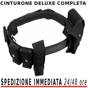 Cinturone-Militare-DELUXE-nero-COMPLETO-di-Accessori-Polizia-Vigilanza-Sicurezza