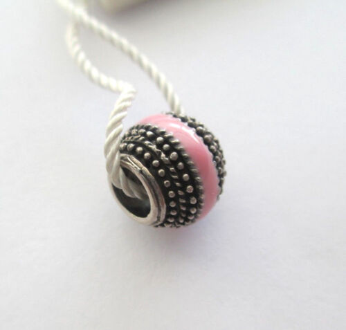 Persona Sterling Patterned Light Pink Enamel Striped Bead Charm H12207P1-01