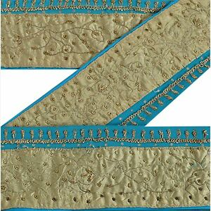 Embellishments & Finishes Antiques Vintage Sari Border Antique Hand Embroidered Trim Sewing Blue Patch Lace