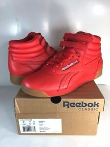 5bcf91d6d3799 Image is loading WOMENS-REEBOK-FREESTYLE-HI-FITNESS-Riot-Red-White-