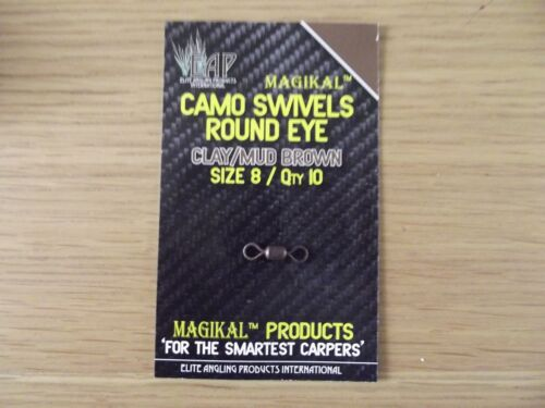 1 PACK EAP CAMO SWIVELS WITH ROUND EYE SIZE 8 CLAY GRAVEL OR WEEDY GREEN