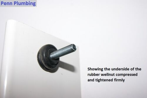 Toilet Seat Fixings Top Fix Fitting WC Blind Hole Fitting Rubber Back To Wall
