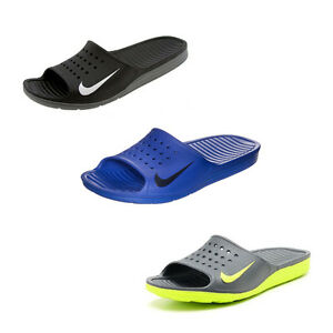 Image is loading NIKE-SOLARSOFT-SLIDE-MENS-SANDALS-BLACK-BLUE-VERY-