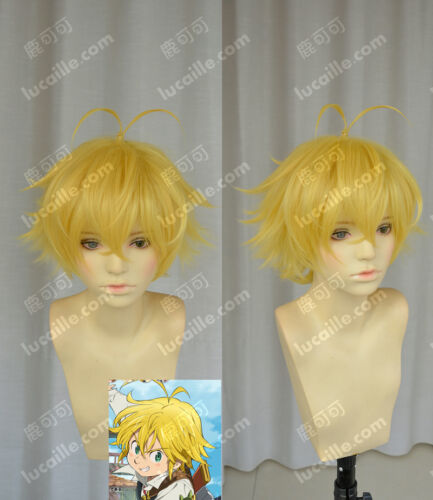 Nanatsu no Taizai Meliodas Costume Cosplay Wig Free Cap Need Styled +Track NO