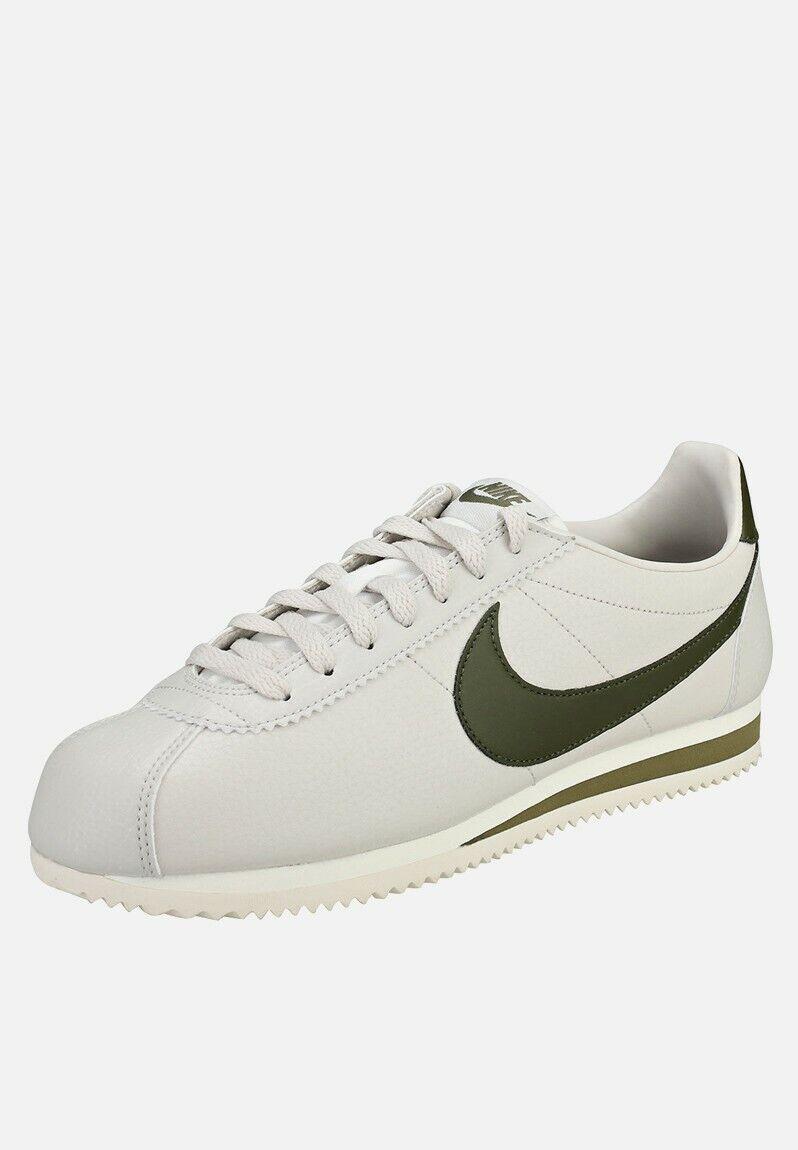 Herren Nike Klassisch Cortez Leder Turnschuhe Weiß Olive 749571 004 Eu 9.5 44.5