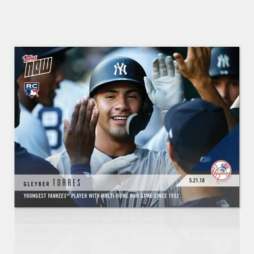 GLEYBER TORRES TOPPS NOW YOUNGEST YANKEES PLAYER MULTI-HOME RUN GAME SINCE /'52