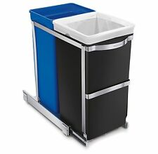 Simplehuman Pull Out Kitchen Trash Can + Recyclables Bin Under Cabinet 35L