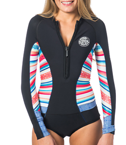 Rip Curl G-Bomb Long Sleeve Hi Cut Springsuit Stripes WSP6LW 4 6 8 10 12