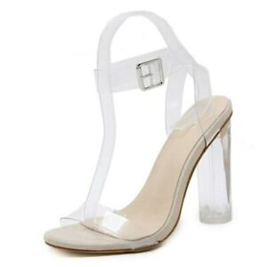 Women Lucite Clear Strappy Block Clear Chunky High Open Peep Toe new Sandal 2020