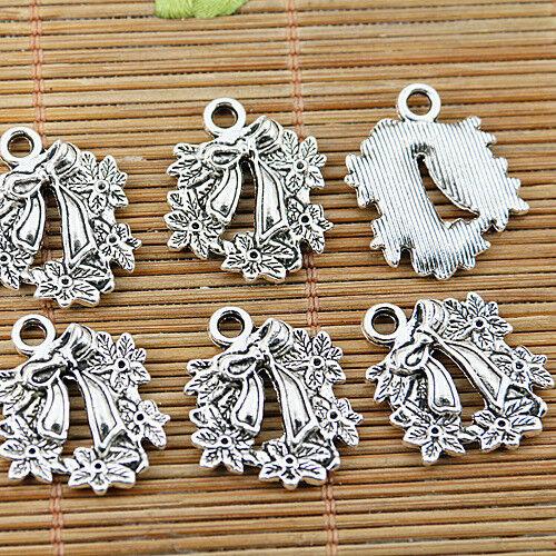 8pcs tibetan silver tone Christmas wreath flower design charms EF1579