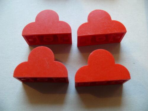 Lego 4 briques rges arrondies set 5920 4147 4215 //4 red modified brick no studs