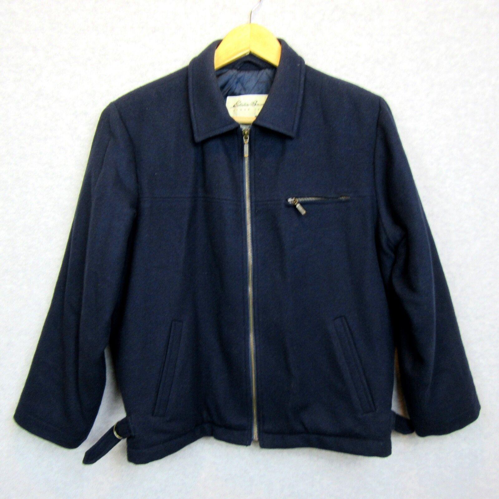 Eddie Bauer Mens Coat Size XS 100% Wool Medium Weight Navy bluee EUC