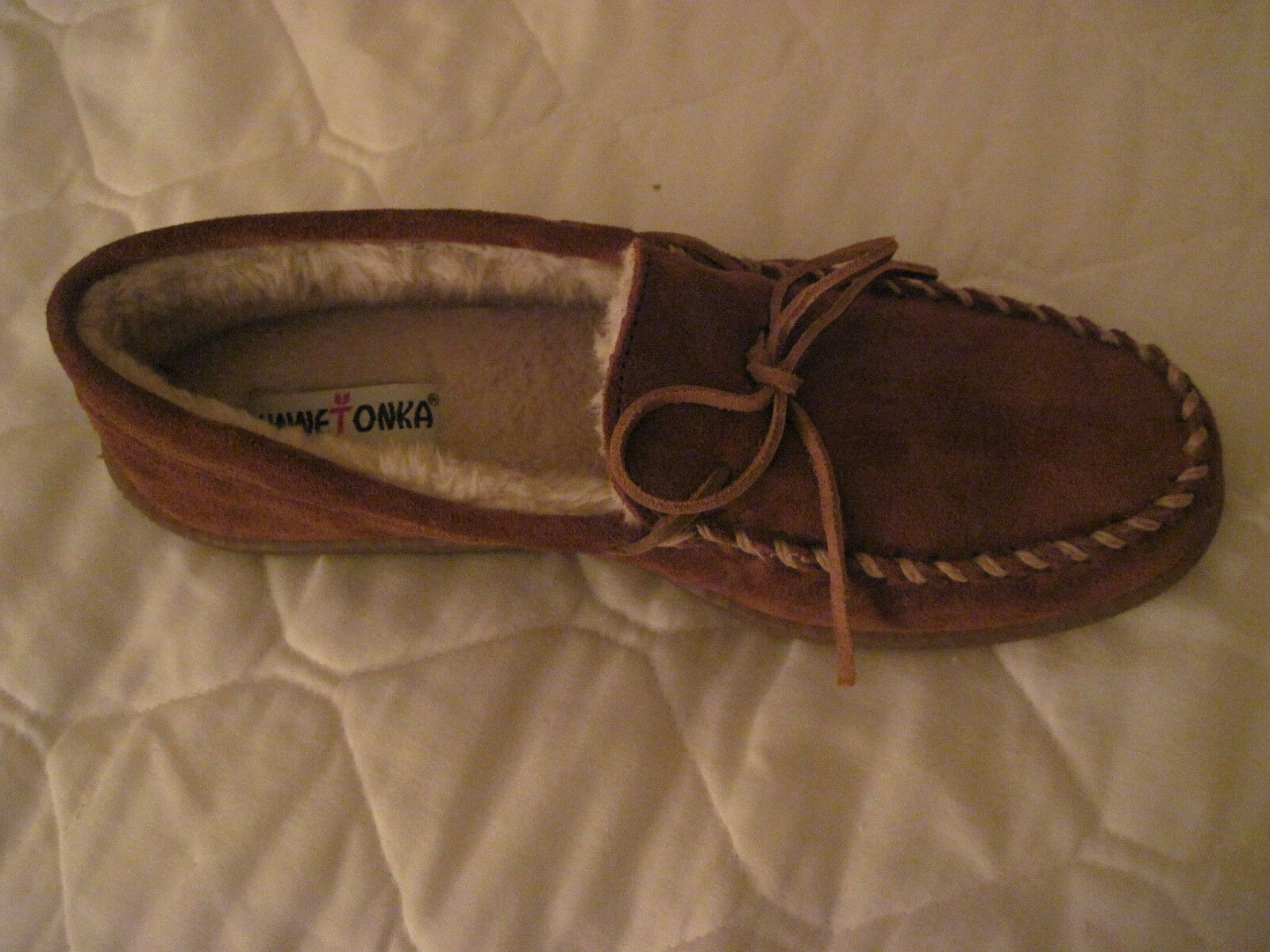 MINNETONKA SUEDE PILE LINED MOCCASINS - BROWN - MENS 11  Wide (E)
