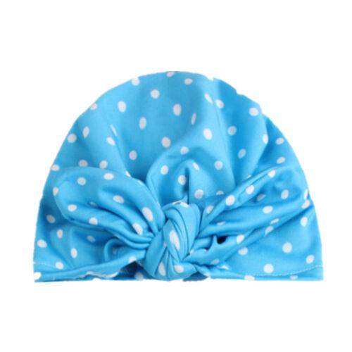 Cute Baby Bowknot Beanie Dots Bow Cap Kid Butterfly Turban Bonnet Hat LD