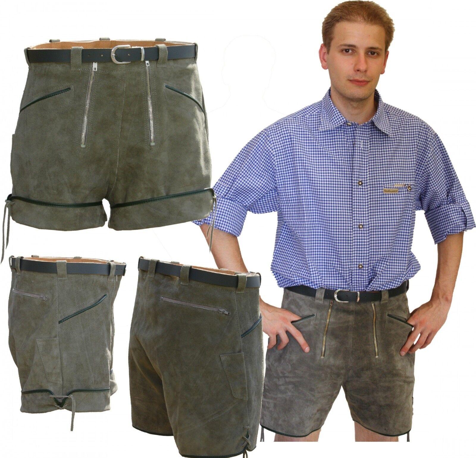 Kurze Lederhose Ledershorts Gürtellederhose Hose + 2 RV