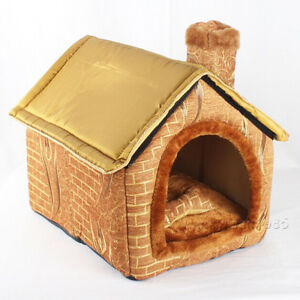 New All Gold Brick Wall Chimeny Pet Dog Cat House Beds Kennel +Toy size M,L,XL