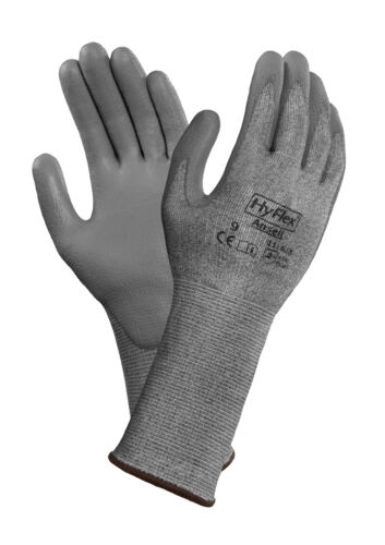Ansell Hyflex 11-628 Protective Gloves Grey with Black Cuff Size 10