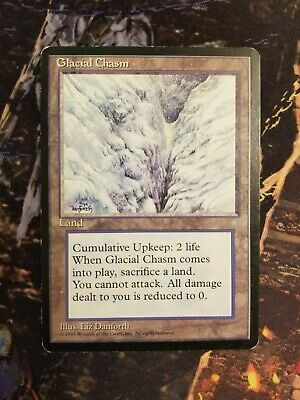 MTG 1x GLACIAL CHASM Ice Age *Land All Damage reduced to 0 NM*