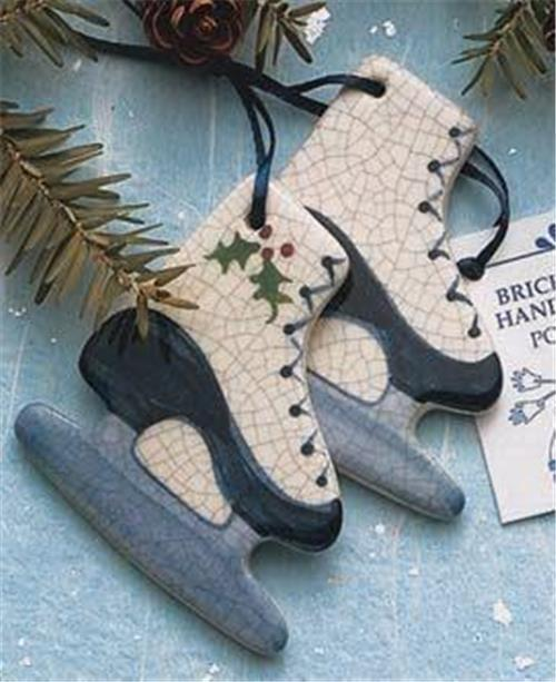 Brick Pond Handworks Handcrafted and Painted Ice Skates Ornament