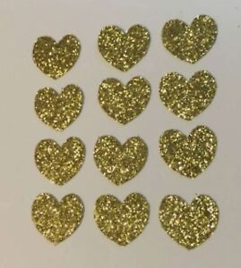 DIE-CUTS-SET-OF-75-HEARTS-GOLD-GLITTER-EMBELLISHMENTS-CARD-amp-PARTY-DECORATIONS