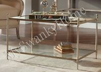Neiman Marcus Silver Minimalist Coffee Cocktail Table Glass Iron Horchow