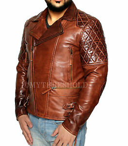 Winter Jacket Brown Mens Distressed Vintage Biker Motorcycle Leather wqxgzvC