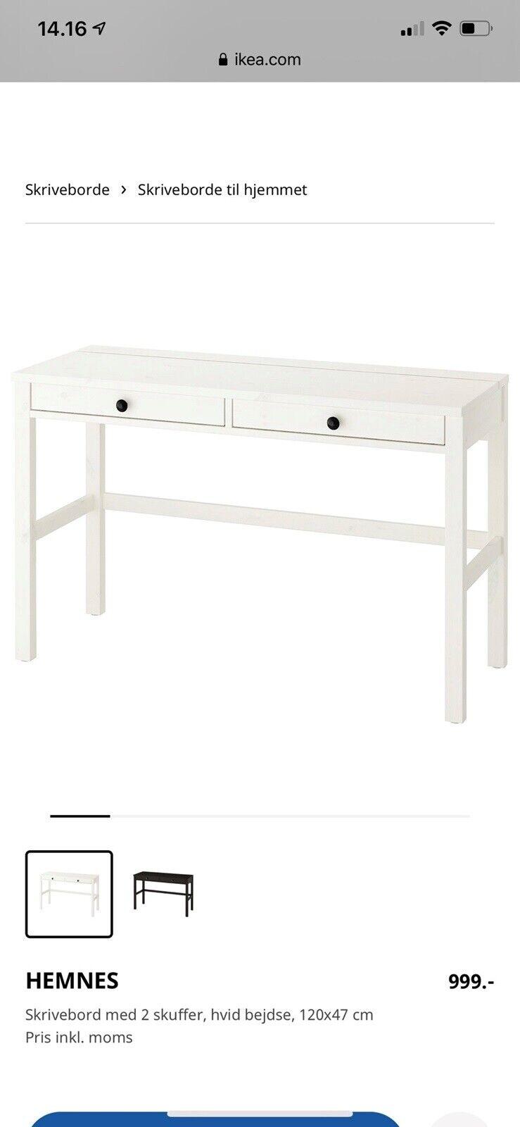 Picture of: Hemnes Skrivebord Med 2 Skuffer Sortbrun 120×47 Cm Ikea