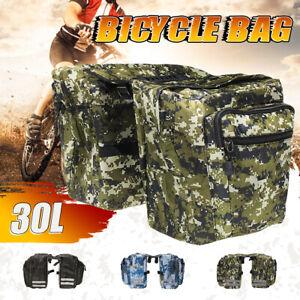 Radfahren-Fahrrad-Hecktraeger-Ruecksitz-Satteltasche-guter-Zustand-Camouflage