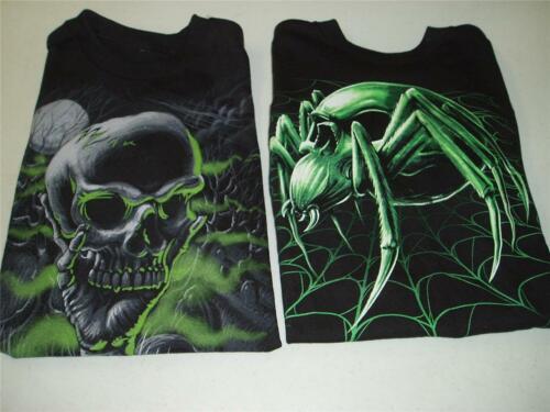 Glow in The Dark Skull Shirt Boys New Skull Spider Wed Black T