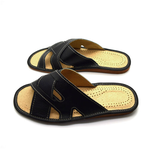 Mens Leather Slippers Slip On Shoes Sandals Size 6 7 8 9 10 11 12 UK Black