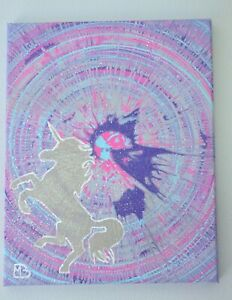 Original Acrylic 11x14 Canvas Panel Art Unicorn Sparkling ...