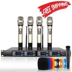 Drahtloses-Mikrofonsystem-Profi-4-Kanal-UHF-dynamicl-Handheld-Karaoke