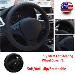 Car Steering Wheel Cover Black /& Red Stitching Microfiber Leather 15/'/' Universal