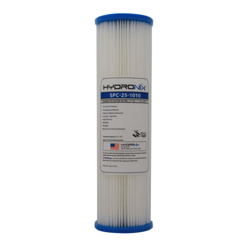 Hydronix SPC-25-1010 10 Micron 10x2.5 Whole House Pleated Sediment Water Filter