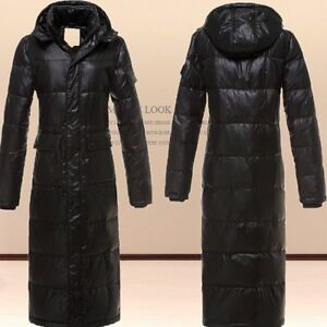 Men's Winter Coats Hooded X-long Mid-calf Length Duck Down Jackets ...