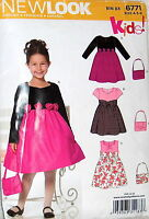 Look Pattern 6771 Party Dress Empire Waist Gathered Skirt Purse Roses 3-8