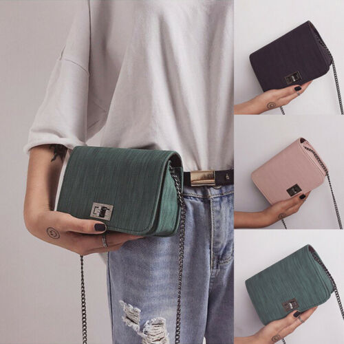 Moda Feminina Mini Bolsa Mensageiro de Couro Ecológico Corrente Metal Bolsas Bolsas Presente