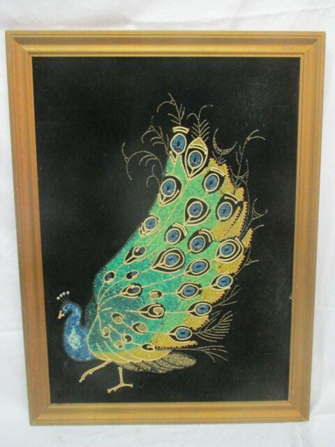 Vtg Mid Century Gravel Art on Black Velvet Peacock & 20x27