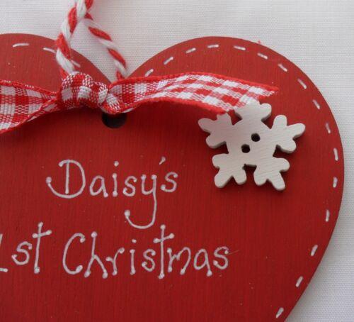 Personalised BABY/'S 1st Premier Arbre De Noël Babiole cœur décoration souvenir