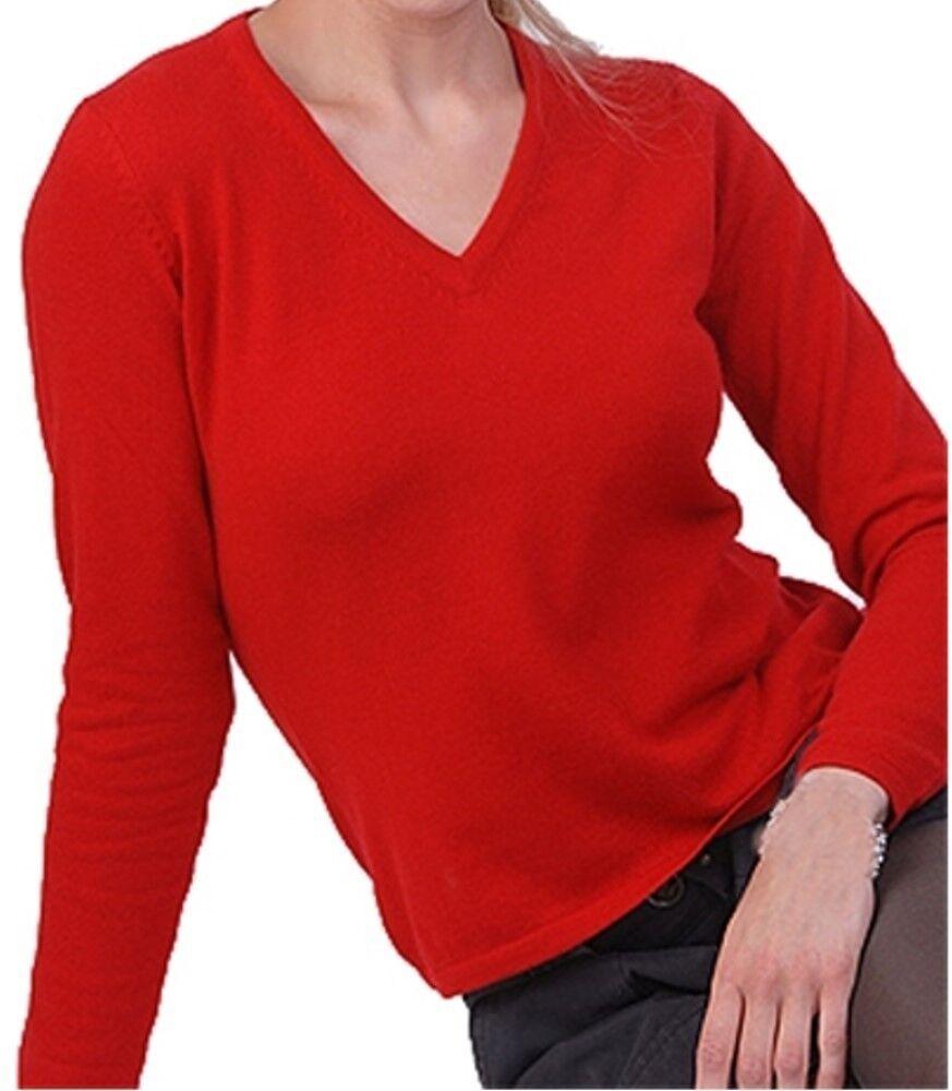 Balldiri 100% Cashmere Damen Pullover 2-fädig V-Ausschnitt rot L