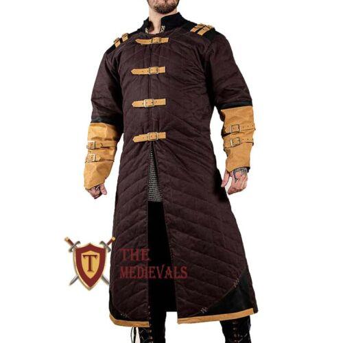 Medieval Thick Padded Full Length Sleeves Gambeson Coat Aketon Jacket