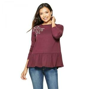 NWT-Knox-Rose-Women-039-s-Floral-Print-Long-Sleeve-Peplum-Top-Shoulder-Embroidery