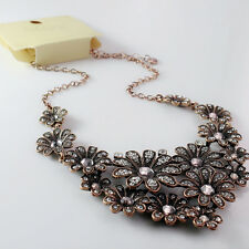 Vintage retro style bronze flower chandelier necklace with crystal