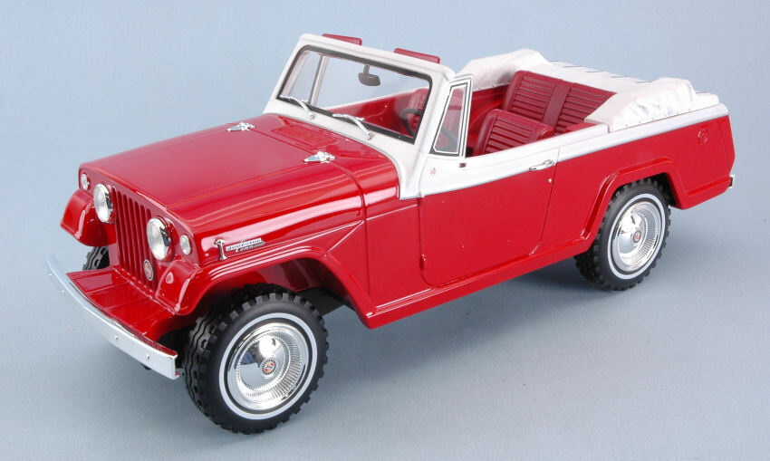 Jeep Jeepster Commando Converdeible rosso   bianca 1 18 Model BOS MODEL