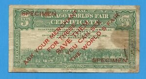 1933 Chicago World's Fair Official 5 Cent Certificate Specimen Bill note Token