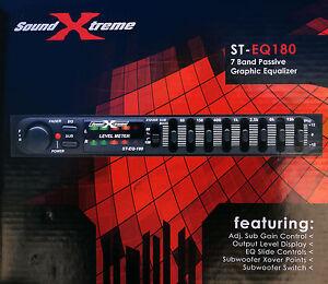 SoundXtreme CAR AUDIO PASSIVE EQUALIZER 7 BAND 1/2 DIN PRE AMP EQ SUB CROSSOVER